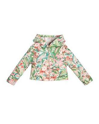 Pili Carrera Hooded Hibiscus Zip-Front Jacket, Green, Size 4-10 $145 thestylecure.com
