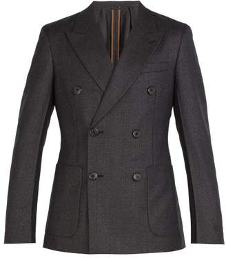 Prada Double Breasted Wool Suit Jacket - Mens - Dark Grey