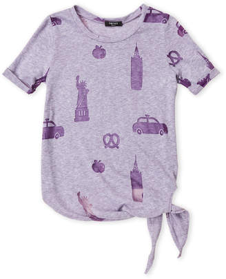 Zara Terez Girls 7-16) Purple Burnout Tie-Front Tee