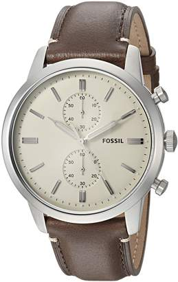 Fossil Men's '44mm Townsman' Quartz Stainless Steel and Leather Casual Watch, Color (Model: FS5350)
