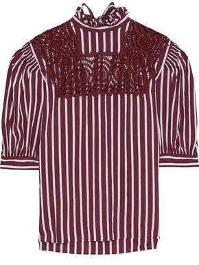 1fe33a0aee7795 Sandro Raphaelle Crochet-paneled Striped Poplin Blouse