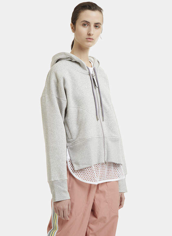 Zip Panel Hooded Sweatshirt in Grey