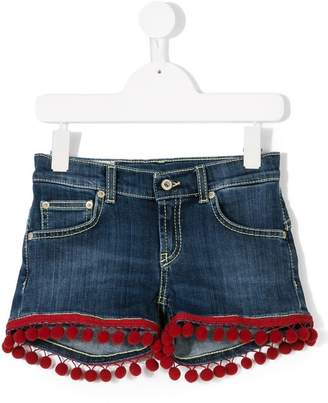 Dondup Kids pom pom trimmed denim shorts