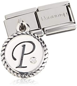 Nomination Women's Charm Letter J Pendant 925 Silver Oxidized Stainless Steel-White Zirconia - 031715/10 EqSubJOGr
