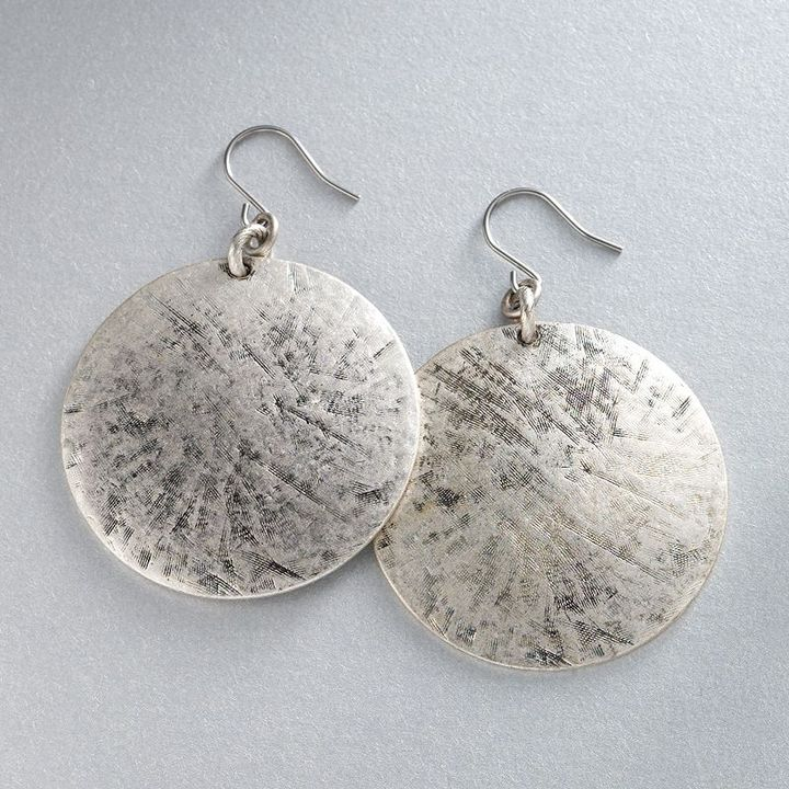 Axcess silver-tone disc drop earrings