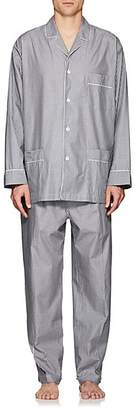 Barneys New York Men's Striped End-On-End Cotton Pajama Set - Gray