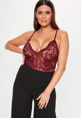 Missguided Plus Size Burgundy Lace Bodysuit