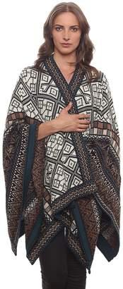 Invisible World Women's Poncho Alpaca Wool 100% Ruana Cape Winter Fall Navajo