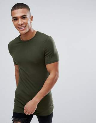 Asos Longline Muscle Fit T-Shirt With Crew Neck In Green