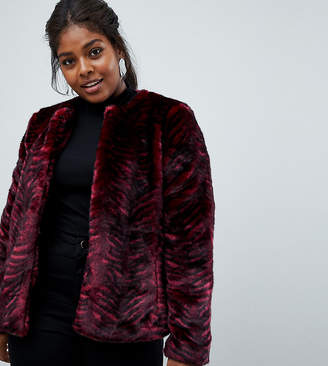 Junarose Tiger Stripe Faux Fur Coat