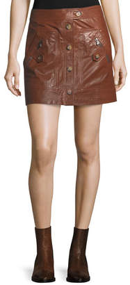 Veronica Beard Monroe A-Line Cargo Leather Skirt