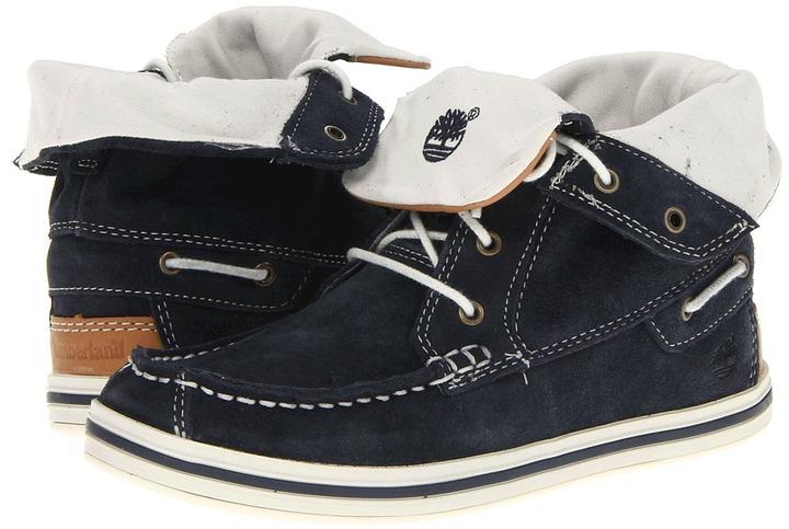 Timberland Kids - Earthkeepers Casco Bay Roll-Top Chukka (Little Kid) (Navy) - Footwear