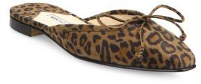 Manolo Blahnik Ballerimu Leopard-Print Suede Flat Mules $695 thestylecure.com