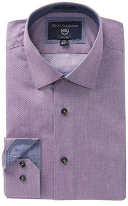 Report Collection Textured Iridescent Modern Fit Dress Shirt