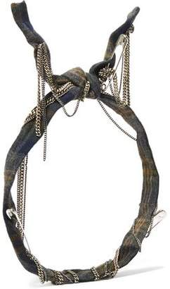 Maison Michel Nito Embellished Plaid Cotton Headband