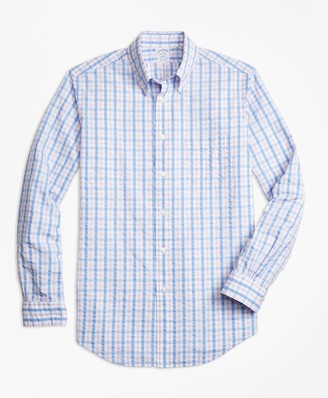 Brooks Brothers Regent Fit Light-Blue Check Seersucker Sport Shirt