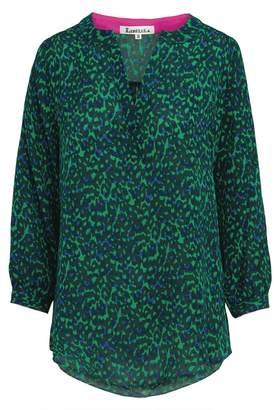 Libelula Maggie Top Green and Blue Leopard Print