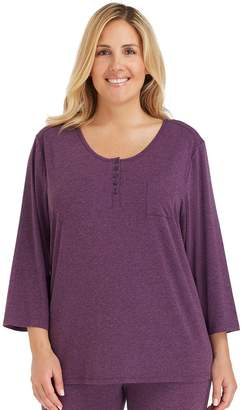 Cuddl Duds Plus Size Pajamas: Essentials Henley Pajama Top