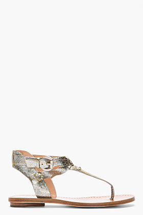 Sigerson Morrison BELLE Cracked Metallic silver Simple Thong Sandals