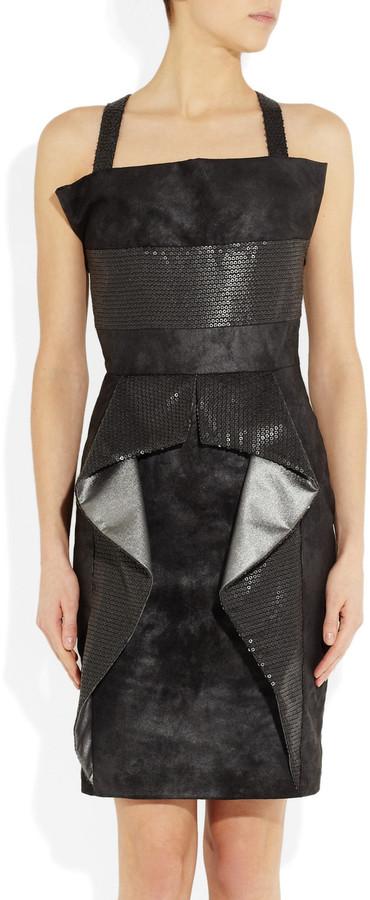 Karl Lagerfeld Sequin-embellished faux suede dress