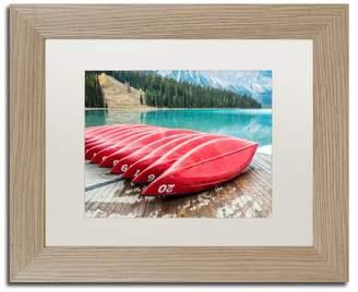 Trademark Fine Art Pierre Leclerc 'Red Canoes Of Emerald Lake' Matted Art, Birch Frame