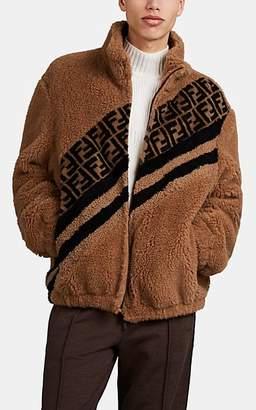 Fendi Men's Logo Faux-Shearling Jacket - Beige, Tan