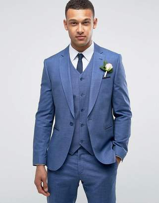 Asos DESIGN WEDDING Slim Suit Jacket in Blue Tonic