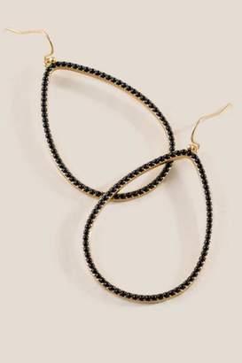 francesca's Clarice Beaded Open Teardrop Earrings - Black