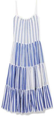 Lemlem Alfie Tiered Striped Cotton-voile Maxi Dress - Bright blue