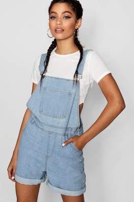 boohoo Oversize Boyfriend Denim Dungaree Shorts