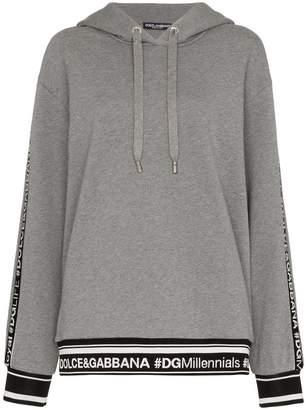 Dolce & Gabbana logo piped sleeve hoodie
