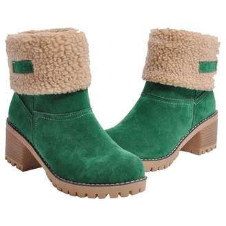 47fa794c986 at Amazon Canada · Inornever Women s Winter Short Boots Round Toe Suede  Chunky Low Heel Faux Fur Warm Ankle Snow