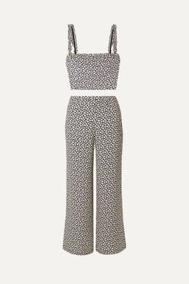 Reformation Coco Floral-print Crepe Top And Pants Set - Black