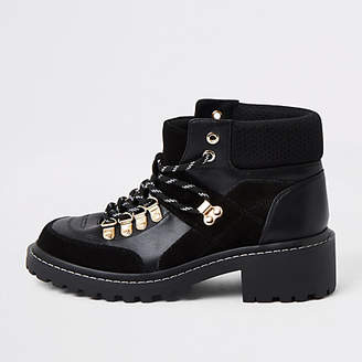 River Island Black lace up hiker ankle boot