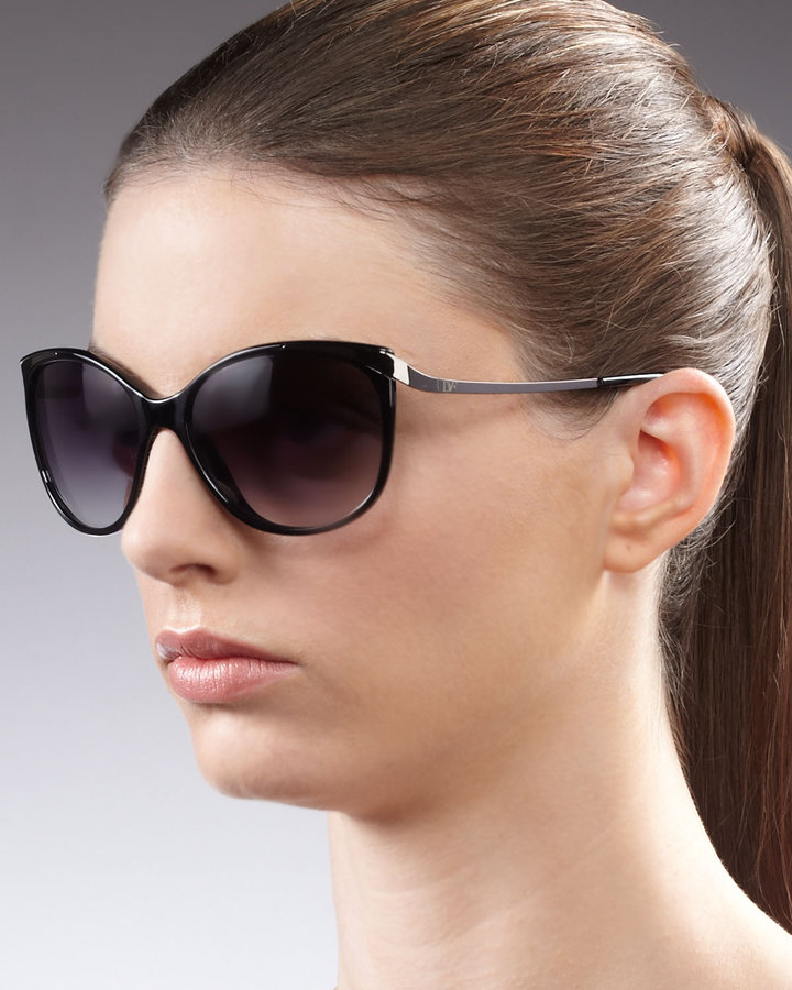 Diane von Furstenberg Lindsay Cat-Eye Sunglasses, Black