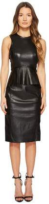 Neil Barrett Fitted Peplum Leather Dress Women's Dress