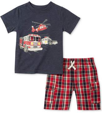 Kids Headquarters 2-Pc. Graphic-Print T-Shirt & Plaid Shorts Set, Toddler Boys