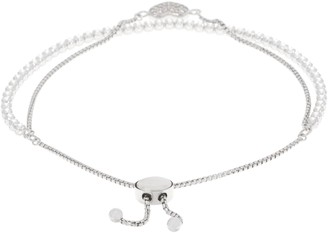 Diamonique Adjustable Double Row Motif Bracelet, Sterling Silver