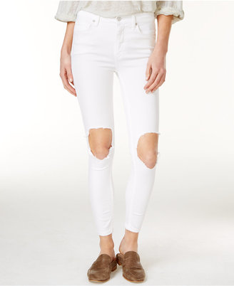 Free People Cotton Ripped Skinny Jeans $78 thestylecure.com