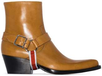 Calvin Klein Carla harness detail cowboy boots