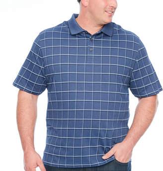 Van Heusen Printed Windowpane Polo Short Sleeve Checked Knit Polo Shirt Big and Tall