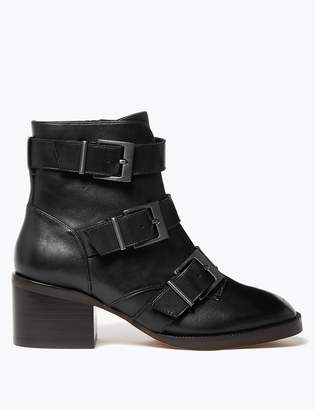 Marks and Spencer Leather Buckle Biker Ankle Boots