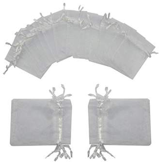 Ankirol 100pcs Wedding Favors Sheer Organza Favor Bags 2x3'' Gift Bags Samples Display Drawstring Pouches (white)