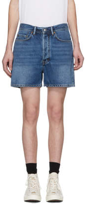 Acne Studios Bla Konst Blue Denim Canoe Shorts