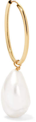 Lee Grace 14-karat Gold Pearl Hoop Earring
