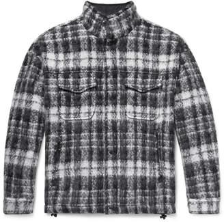 Aspesi Checked Textured-Knit Jacket - Men - Gray