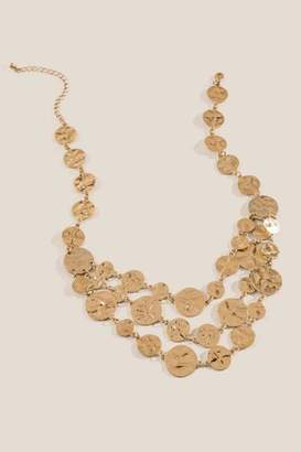 francesca's Petra Hammered Coin Statement Necklace - Gold