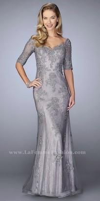 La Femme Applique Embellished Lace V-neck Evening Dress $598 thestylecure.com