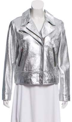 Sonia Rykiel Sonia by Embroidered Metallic Leather Jacket