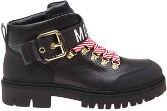 Moschino Heeled Booties Mountain Boots In Leather With Bicolor Laces And Maxi Logo
